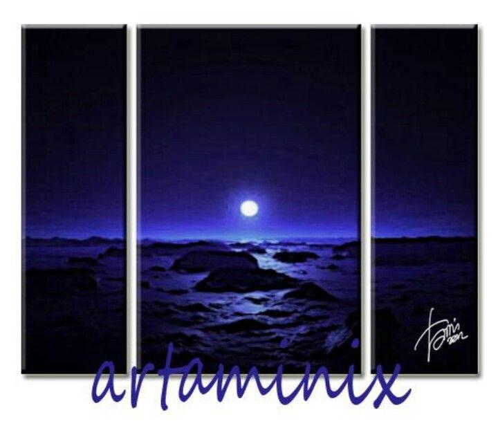 Blue #dark #landscape #art #handmade #moon #romantic #artaminix #idea #arredo #home