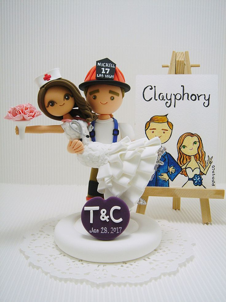 Firefighter and Nurse Custom wedding cake topper by Clayphory on Etsy https://www.etsy.com/listing/485648645/firefighter-and-nurse-custom-wedding