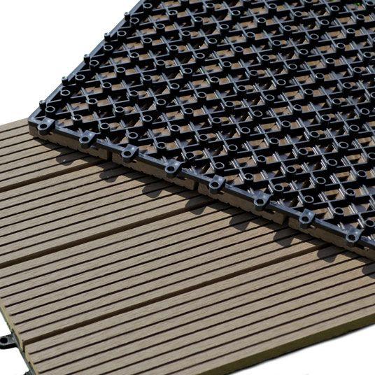 Dalle+Terrasse+Composite+clipsable+-+Chocolat+-+45+x+45+cm