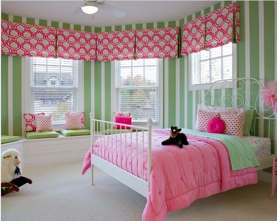 Little Girls Room Pink And Green Window Treatments Striped Walls Interior Design Baby