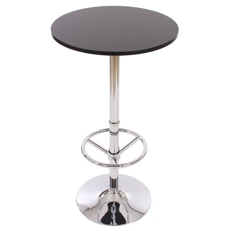 Table de bar / table haute Bari, ronde, avec repose-pied, 109x60x60cm, noir: Amazon.fr: Cuisine & Maison