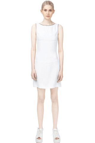 Crisp White stretch shift dress with Lace skirt