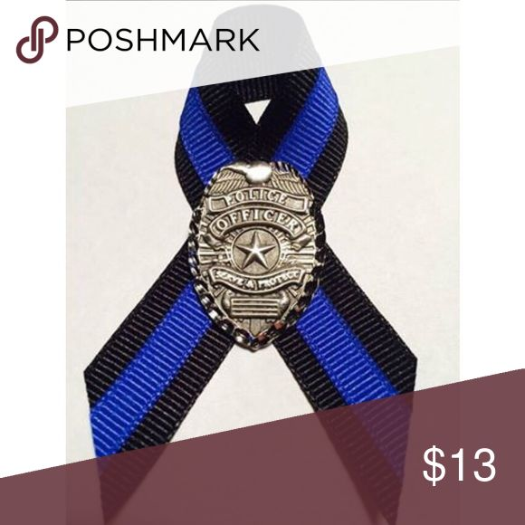 Thin Blue Line 💙 Law enforcement support pin Pewter police badge pin with thin blue line ribbon. Accessories