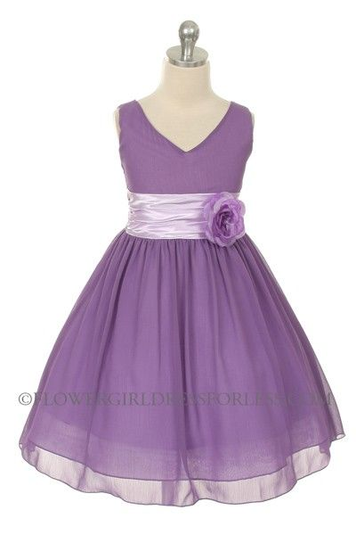 MB_1082L - Flower Girl Dress Style 1082- Lilac Crepe Dress with Charmeuse Waist Sash - Purple - Flower Girl Dress For Less