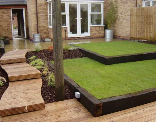 Lawn edging from railway sleepers