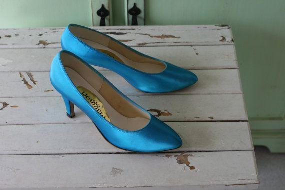 1980 TEAL BLUE podpätky ... Velikost 8.5 dámske .... svadba. by retroandme