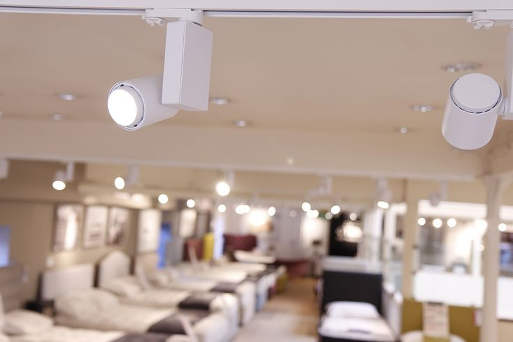 STAR 1 Spots by Optelma, mounted on Surface Mounted 230V Track. #LightingDesign #Lighting #Retail #Architecture #Shop #InteriorDesign #LED #Track