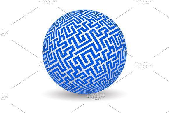 3d globe with maze texture. Decoration #sphere #decoration