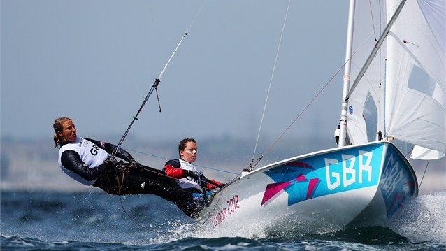 Hannah Mills (R) and Saskia Clark of Great Britain compete in the 470 Women's Class Sailing on Day 7 of the London 2012 Olympic Games at the Weymouth & Portland Venue at Weymouth Harbour in Dorset.