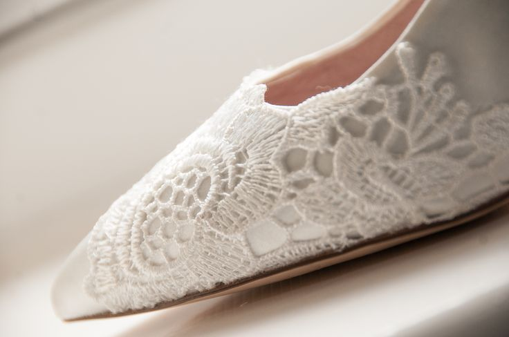 Close up of my lace covered wedding shoe. Bought from Next