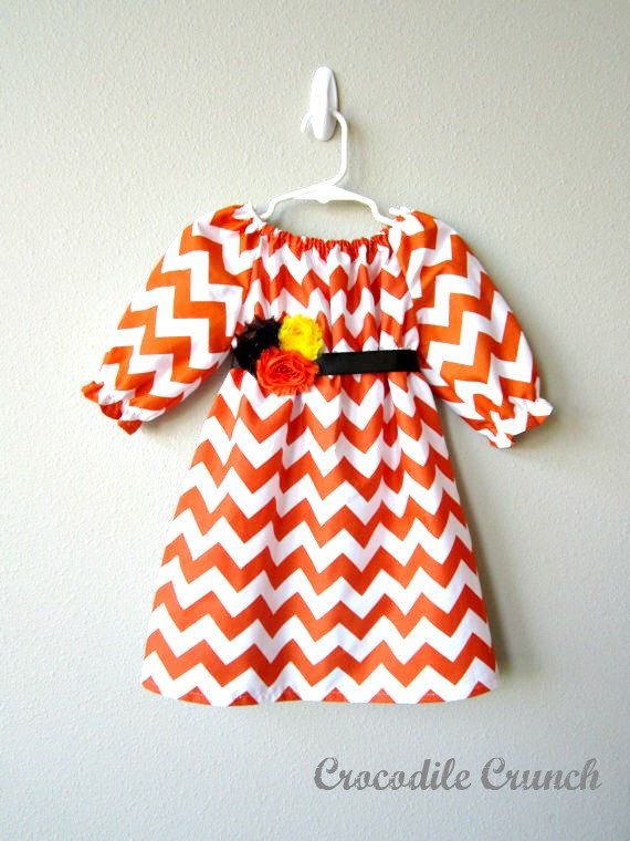 This orange chevron dress will take your little one from  the first day of school through Thanksgiving!