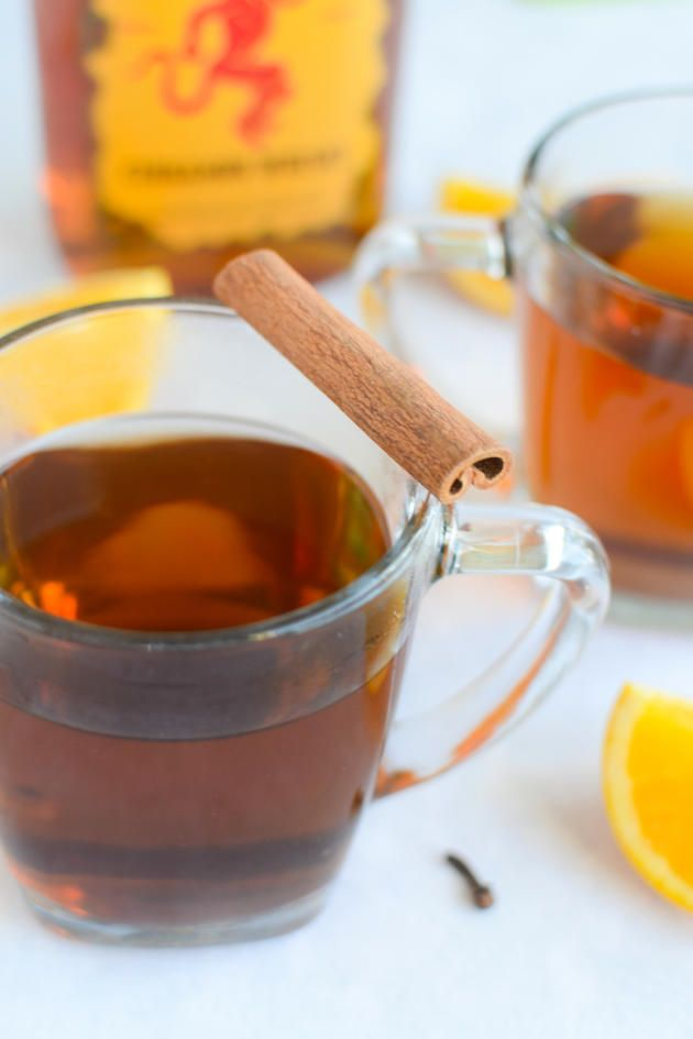 Hot Spiked Cider is spiked with cinnamon whiskey. Warm and inviting.