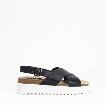 KMB W395 Cross Strap Platform Sandal Black Leather
