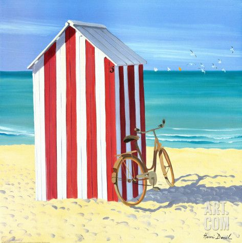 Art.fr - Reproduction d'art 'Candy Striped Beach Shack' par Henri Deuil
