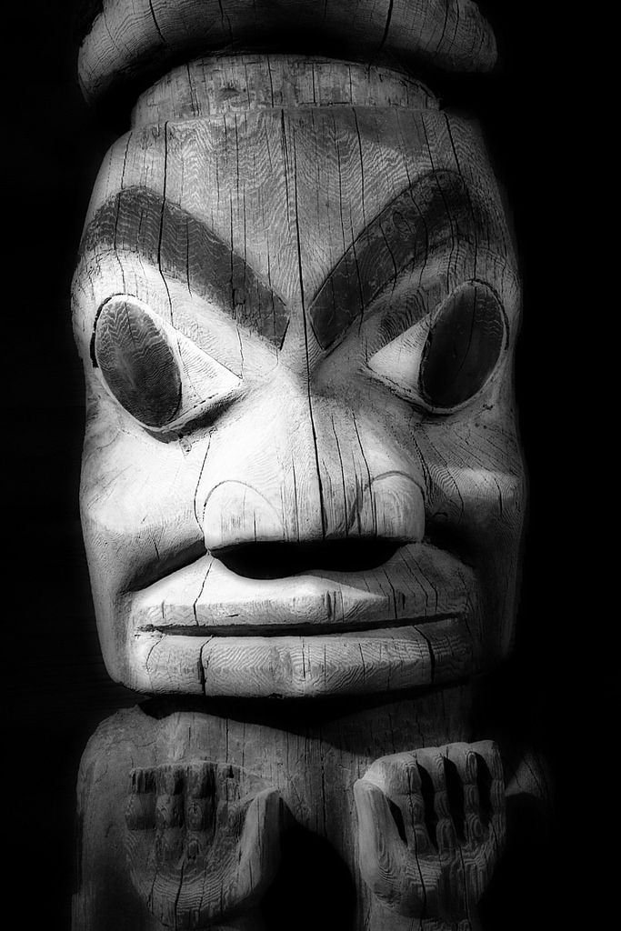 https://flic.kr/p/UrCUdb | A Face in the Dark_5757 | Native Canadian Totem photographed at the Museum of Archaeology & Ethnology on the Simon Fraser University campus.