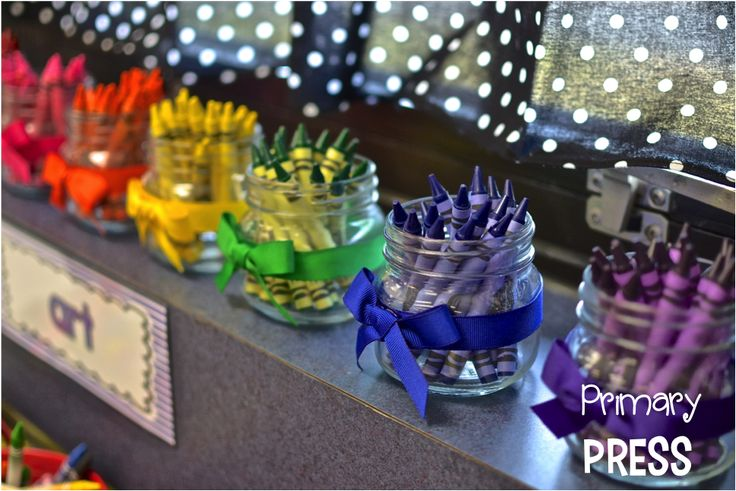 Love these jars for extra crayons...no more searching for missing crayons!