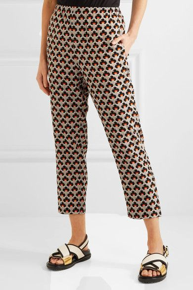 Marni - Printed Silk Crepe De Chine Track Pants - Orange - IT