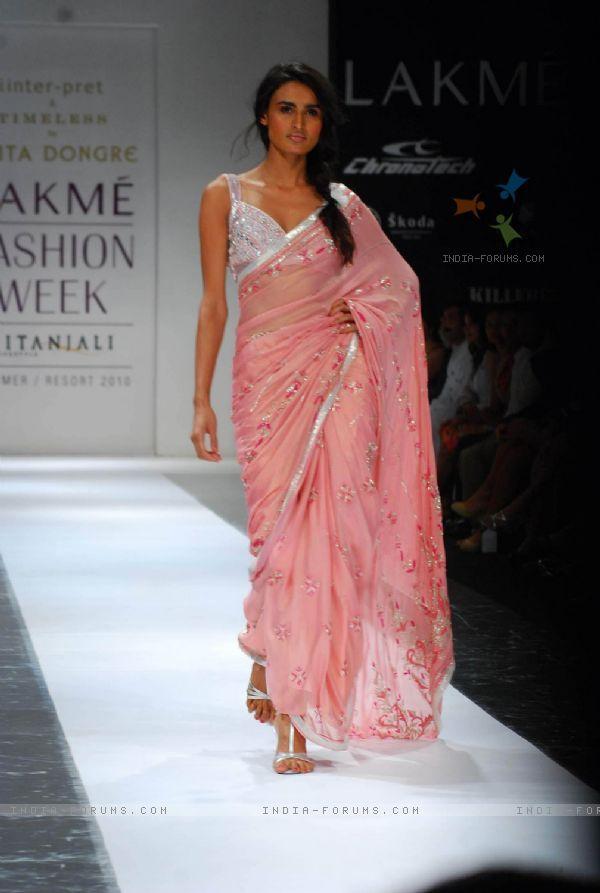 Model walks on the ramp for designer Anita Dongre at Lakme Fashion Week