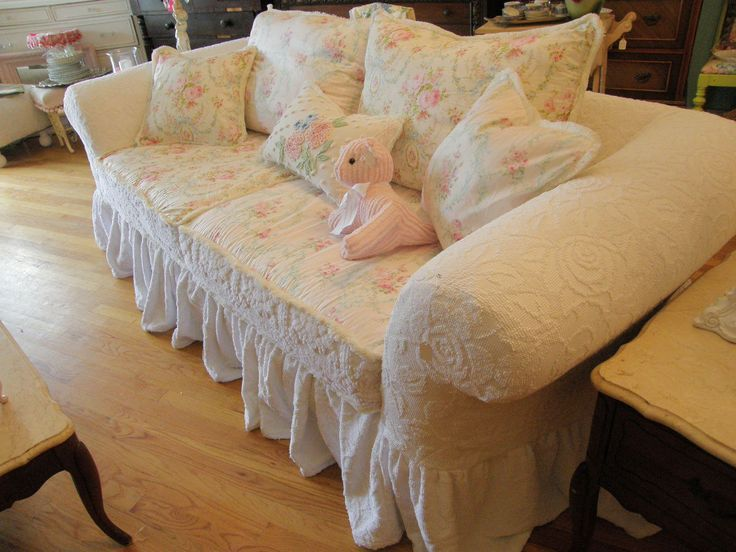 Custom Shabby Sofa Chic Chenille Bedspread Slipcover White Pink Roses Couch  Cottage Prairie. $2,200.00,