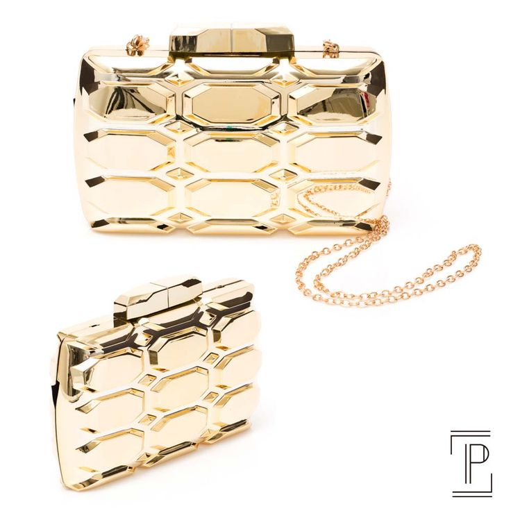 Donna Brasil clutch dourada espelhada