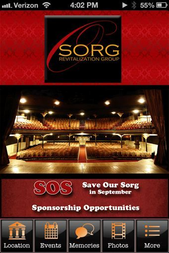 "http://Mobogenie.com  Welcome to The Sorg Opera House App! Be sure to download our app so that you can keep up to date on all our events and performances. Be sure to join our mailing list so you can receive our newsletters and have another way to stay in touch with us. We would enjoy having you upload pictures showing how much fun you are having at The Sorg events. Make your reservations right in the app, too. Learn more about us on the ""who we are tab"".<p>The Sorg Opera House in historic…"