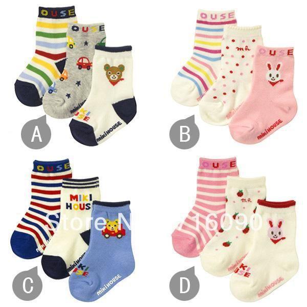 Одежда для младенцев аксессуары унисекс свободного покроя носки 100% хлопок шотландка узор с противоскользящих резина 3 pairs/lot dr0004-18