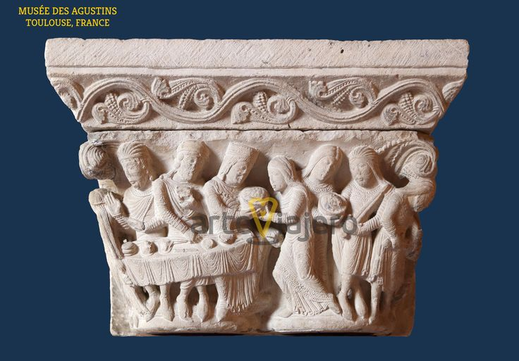 Capitel románico con el Banquete de Herodes, Musée des Agustins, Toulouse, France