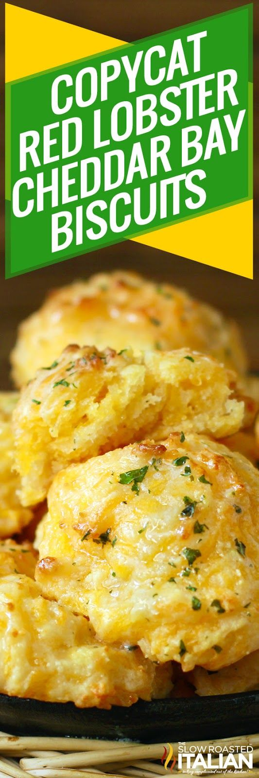Copycat Red Lobster Cheddar Bay Biscuits are easier AND tastier than a box mix!  This recipe is so easy, it only takes one bowl, one whisk, no baking mix and 20 minutes!  Yes, only 20 minutes from start till serve.