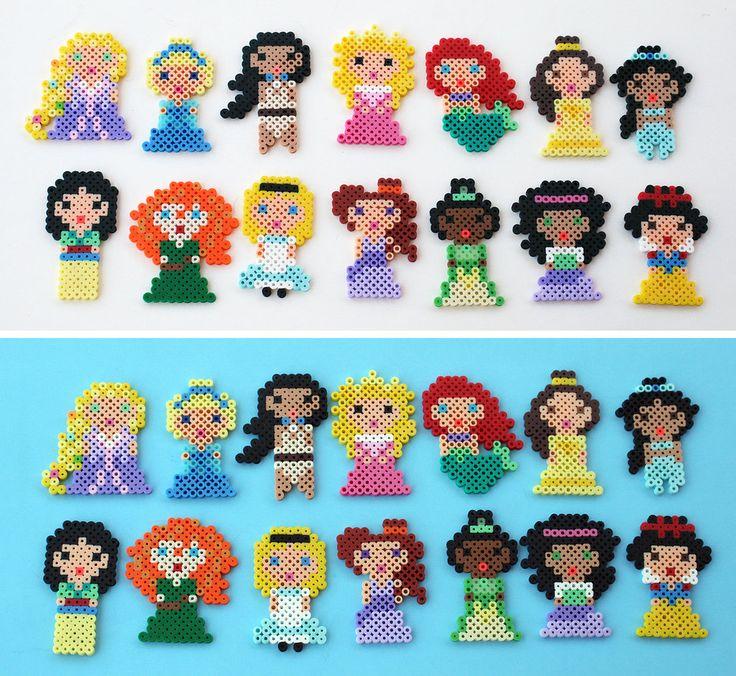 Mini Disney Princesses by ThePlayfulPerler.deviantart.com on @deviantART