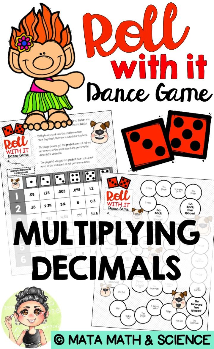 Trick your students into practicing multiplying decimals by decimals with this Dance Game! Students will roll the dice to choose the factors, multiply them in the work space and then check their work using a calculator! If the students get the product correct they get to roll and move on the ROLL WITH IT! Game Board.  This game board features various current and old-school dance moves. When a student lands on a dance move, they stand up and perform that move. Then, they continue with their…