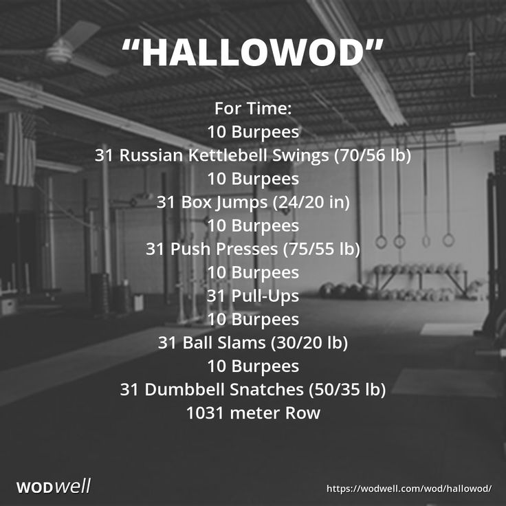 """Hallowod"" WOD - For Time: 10 Burpees; 31 Russian Kettlebell Swings (70/56 lb); 10 Burpees; 31 Box Jumps (24/20 in); 10 Burpees; 31 Push Presses (75/55 lb); 10 Burpees; 31 Pull-Ups; 10 Burpees; 31 Ball Slams (30/20 lb); 10 Burpees; 31 Dumbbell Snatches (50/35 lb); 1031 meter Row"