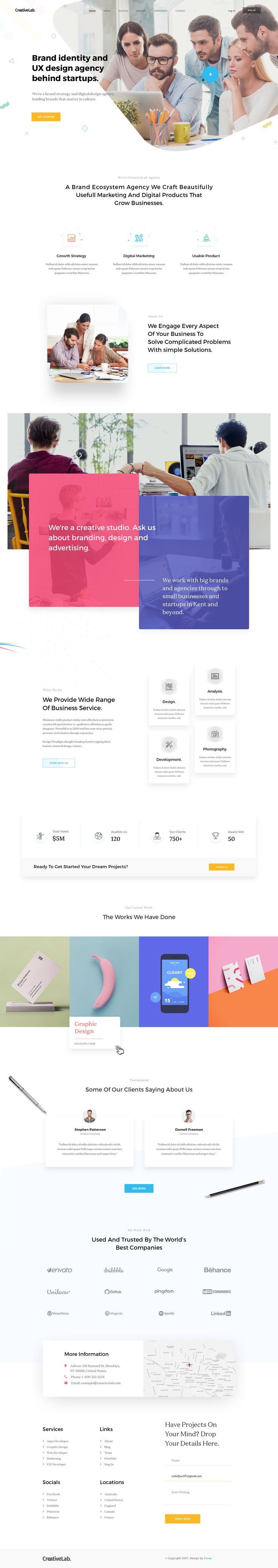 Agency landing page web design concept that is very creative