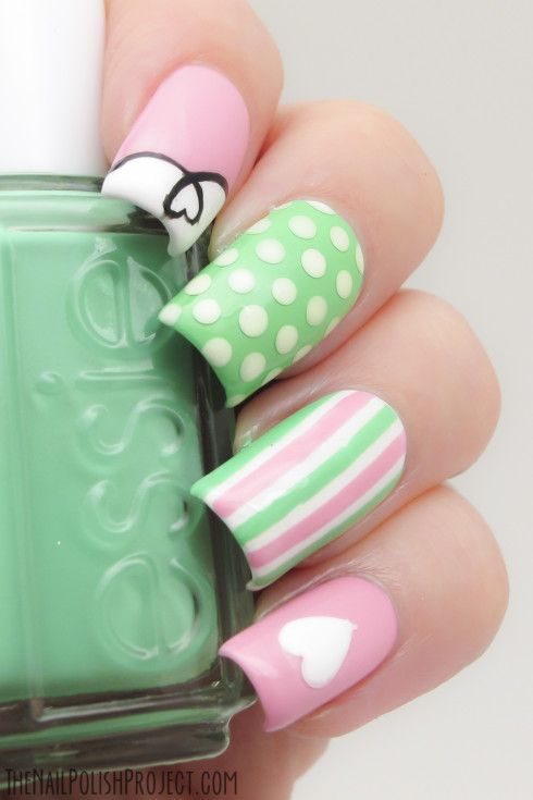 The Nail Polish Project. Polka dots, stripes, heart, green, pink, Essie nails.  Nail Art. Nail Design. Polishes. Polish, Romantic. Valentine's Day.
