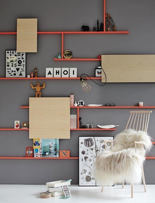 Eine graue Wand fürs Wandregal