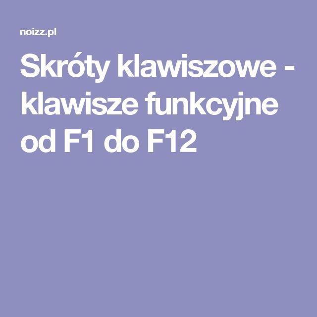 Skróty klawiszowe - klawisze funkcyjne od F1 do F12
