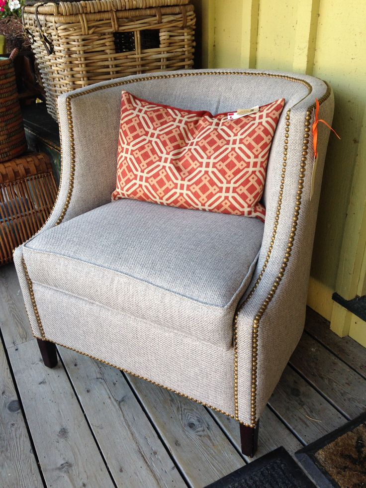 Transitional windfield classic tub chair in light grey tweed with brass stud details $ 659.00