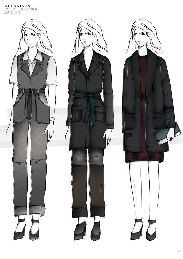 BOONSITA SINGHTOTHONG | ALLSAINTS: DUTY.  fashion design, fashion, portfolio, layout, art, drawing, sketching, line up, fashion illustration