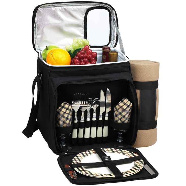 Features:  -Includes blanket with carrier.  -600D poly canvas.  -Unique drink door in lid.  -Adjustable shoulder strap.  -Thermal shield insulation.  -Divided cooler to separate food from beverages.