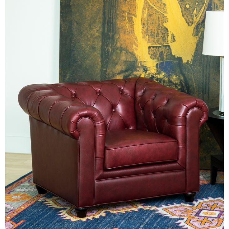 Abbyson Tuscan Top Grain Leather Chesterfield Armchair (Burgundy (Red)) (Foam)