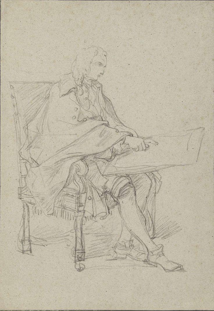 Figuurstudie voor de leraar in een afbeelding van een tekenacademie, Charles Joseph Natoire, 1710 - 1777