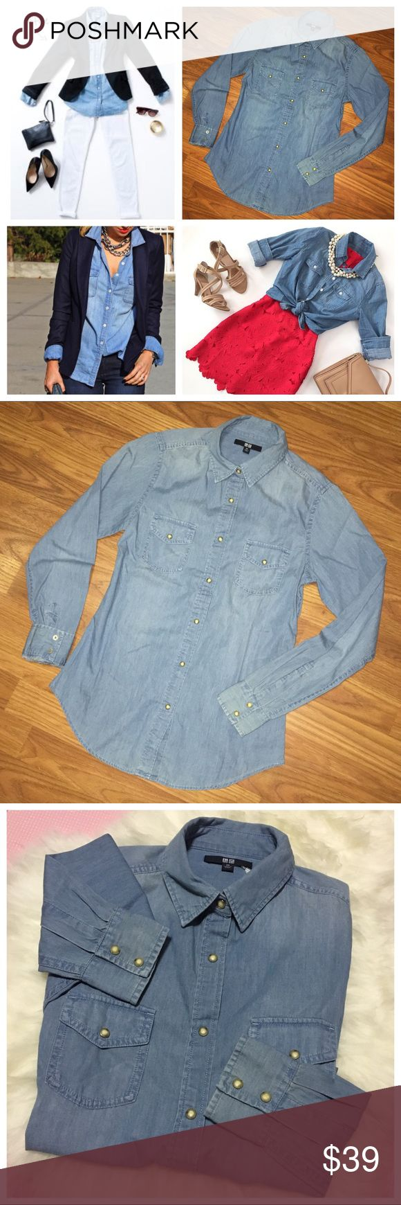 SALE: Uniqlo Denim Designed Chambray Shirt A denim designed long sleeve button down shirt 100% cotton from Uniqlo. The style is 63 blue, a light and medium blue combination. It has pockets on both sides, all pop button closures. Casual shirt that can be paired with dress pants/jeans/skirt. Comfortable, lightweight & well made. Size xsmall for bust 31-33 inches, can fit small. Questions welcomed. Pinterest images from photo 1 is for styling reference, not the same exact shirt, photos 2-8 are…