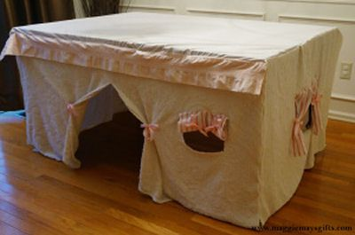 My kids grown, no grandbabies, but this tutorial for a Kitchen Table Fort is coolio.