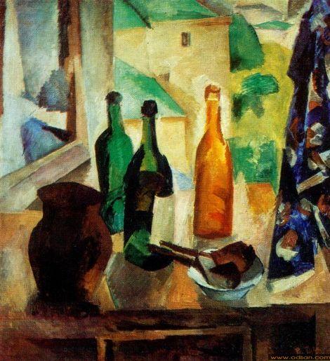 Robert Falk - Bottles by the Window, c.1917