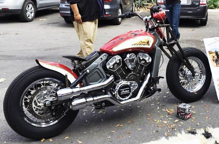 2015-2017 Indian Scout black distressed tractor seat and spirng mounting kit pic of customers bike in a show.