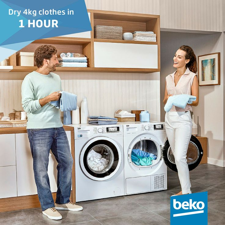 Dry 4kg of laundry in 1 hour. Perfect for Winter when you are busy and need to get the household chores done quickly!  #beko #dryer #winter #laundry