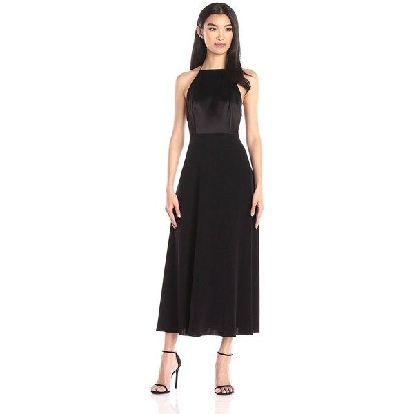 Jill Jill Stuart Women's Long Satin Racer Back Gown ($342) ❤ liked on Polyvore featuring dresses, gowns, satin dress, satin evening dresses, jill by jill stuart, jill by jill stuart dress and satin ball gown