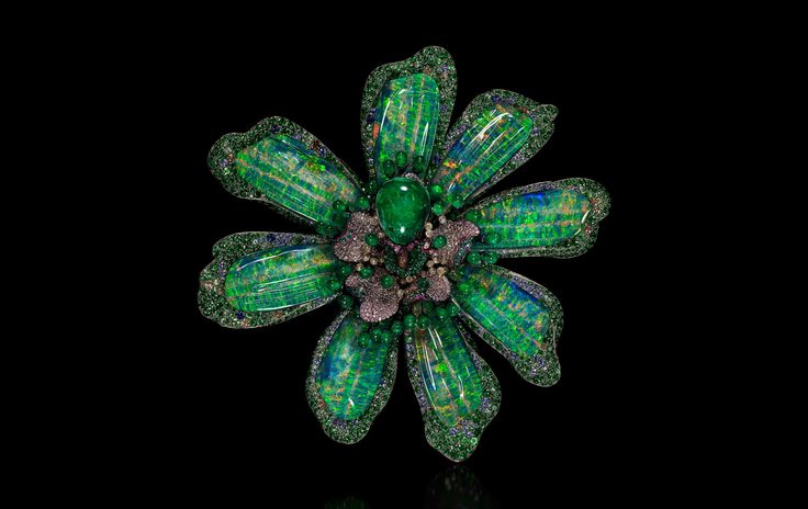 """Fleur de Vie ……  Brooch by Wallace Chan. """"The flower is breathing in endless blue & green. Each breadth it takes is an ode to the miracle of nature & of life""""  Emerald, Opal, coloured diamond, Tsavorite garnet, sapphire, Lapis Lazuli"""
