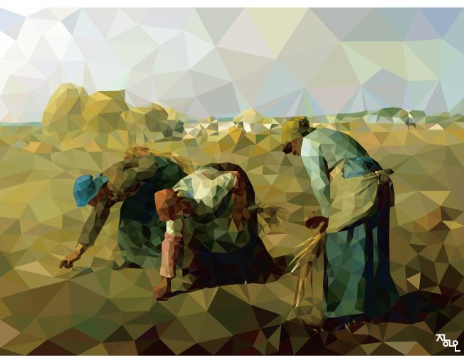 art artist ai illust illustrator polygon polygonart lowpoly artwork jeanfrancoismilet milet famous france modernism the gleaners 밀레 이삭줍는 여인들 명화