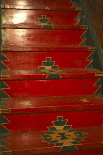 Stairwell Pantry Painted Steps---I love the paint job!!!