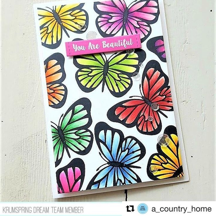 "189 Likes, 8 Comments - • Maria • Krumspring Stamps • (@krumspring_) on Instagram: ""Maria is up on the blog with two amazing, happy cards 😍😍😍 this butterfly card is just the most…"""
